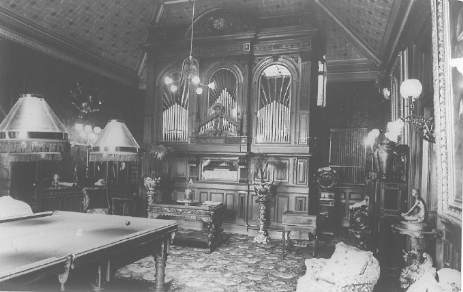 Billiard Room with Orchestrion in Adelina Patti's time at Craig y Nos Castl