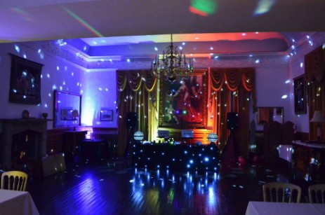 Brecon Beacons Hotel Craig y Nos Castle Music Room set up for evening disco