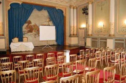 Conferences in Swansea - Theatre at Craig y Nos Castle in South Wales shown set up as a Conference Venue