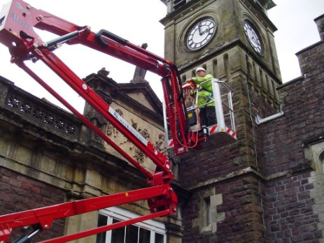 Our access platfiorm can reach most places, including to the top of the clock tower