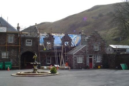 Atrium block and what are now En-suites AB26,27, 28 being re-roofed at Brecon Beacons Hotel Craig y Nos