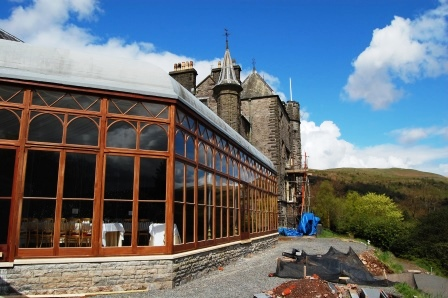 Conservatory at Brecon Beacons Hotel Craig y Nos newly restored before terracing completed