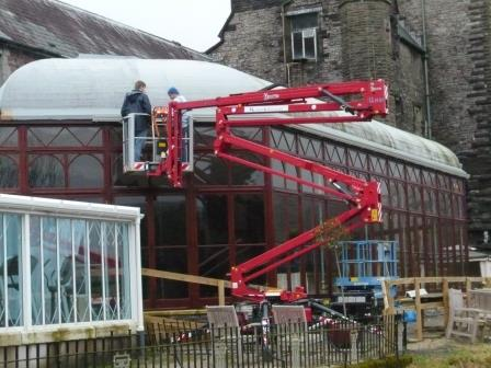Chairlift inspection of new Conservatory roof prior to installation of new guttering