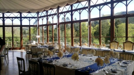 Conservatory with views over the Brecon Beacons Mountains making this a popular room for wedding breaktasts